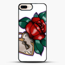 Load image into Gallery viewer, Lock And Rose iPhone 8 Plus Case, Black Plastic Case | JoeYellow.com