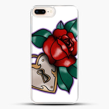 Load image into Gallery viewer, Lock And Rose iPhone 8 Plus Case, White Plastic Case | JoeYellow.com