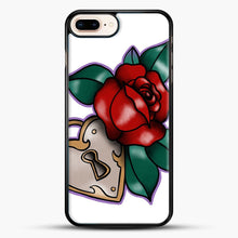 Load image into Gallery viewer, Lock And Rose iPhone 8 Plus Case, Black Rubber Case | JoeYellow.com