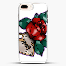Load image into Gallery viewer, Lock And Rose iPhone 8 Plus Case, White Rubber Case | JoeYellow.com