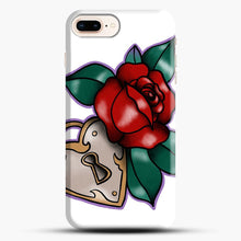 Load image into Gallery viewer, Lock And Rose iPhone 8 Plus Case, Black Snap 3D Case | JoeYellow.com