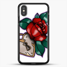Load image into Gallery viewer, Lock And Rose iPhone X Case, Black Rubber Case | JoeYellow.com