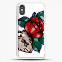 Load image into Gallery viewer, Lock And Rose iPhone X Case, White Rubber Case | JoeYellow.com