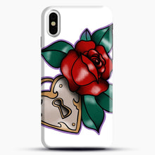 Load image into Gallery viewer, Lock And Rose iPhone X Case, Black Snap 3D Case | JoeYellow.com