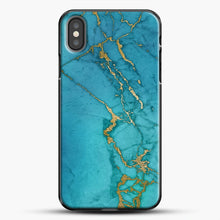 Load image into Gallery viewer, Marble Rose Gold Streaks iPhone Case, Black Plastic Case | JoeYellow.com