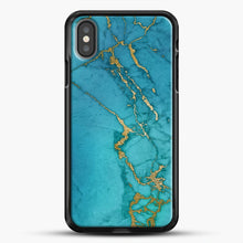 Load image into Gallery viewer, Marble Rose Gold Streaks iPhone Case, Black Rubber Case | JoeYellow.com