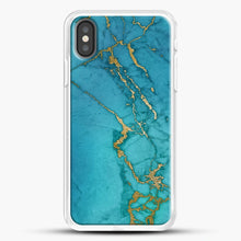 Load image into Gallery viewer, Marble Rose Gold Streaks iPhone Case, White Rubber Case | JoeYellow.com