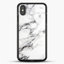 Load image into Gallery viewer, Marble White iPhone Case, Black Rubber Case | JoeYellow.com