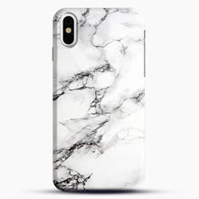 Load image into Gallery viewer, Marble White iPhone Case, Black Snap 3D Case | JoeYellow.com
