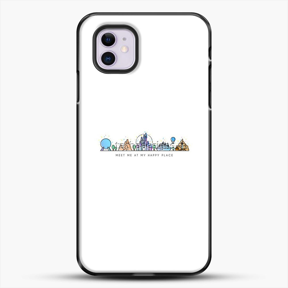 Meet Me At My Happy Place Vector Orlando Theme Park Illustration iPhone 11 Case, Black Plastic Case | JoeYellow.com