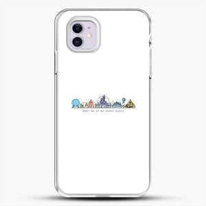 Meet Me At My Happy Place Vector Orlando Theme Park Illustration iPhone 11 Case, White Plastic Case | JoeYellow.com