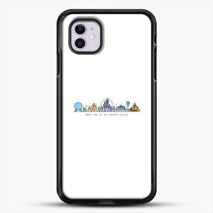Meet Me At My Happy Place Vector Orlando Theme Park Illustration iPhone 11 Case, Black Rubber Case | JoeYellow.com