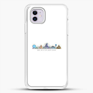 Meet Me At My Happy Place Vector Orlando Theme Park Illustration iPhone 11 Case, White Rubber Case | JoeYellow.com