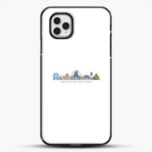 Meet Me At My Happy Place Vector Orlando Theme Park Illustration iPhone 11 Pro Case, Black Plastic Case | JoeYellow.com