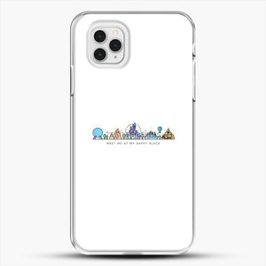 Meet Me At My Happy Place Vector Orlando Theme Park Illustration iPhone 11 Pro Case, White Plastic Case | JoeYellow.com