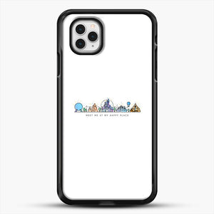 Meet Me At My Happy Place Vector Orlando Theme Park Illustration iPhone 11 Pro Case, Black Rubber Case | JoeYellow.com