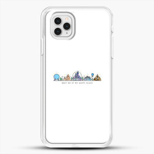 Meet Me At My Happy Place Vector Orlando Theme Park Illustration iPhone 11 Pro Case, White Rubber Case | JoeYellow.com