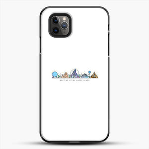 Meet Me At My Happy Place Vector Orlando Theme Park Illustration iPhone 11 Pro Max Case, Black Plastic Case | JoeYellow.com