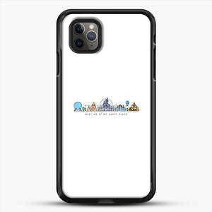 Meet Me At My Happy Place Vector Orlando Theme Park Illustration iPhone 11 Pro Max Case, Black Rubber Case | JoeYellow.com