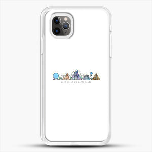 Meet Me At My Happy Place Vector Orlando Theme Park Illustration iPhone 11 Pro Max Case, White Rubber Case | JoeYellow.com