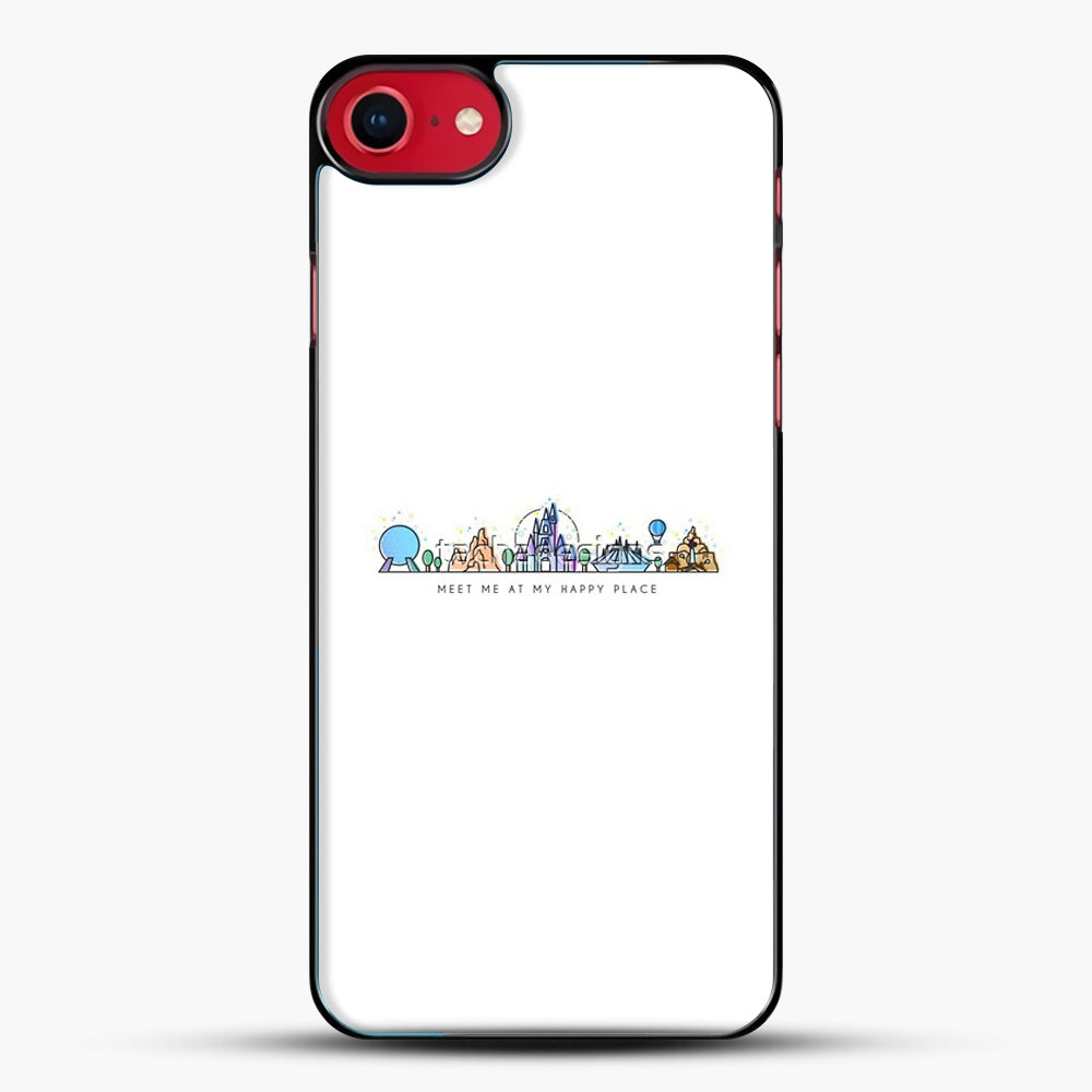 Meet Me At My Happy Place Vector Orlando Theme Park Illustration iPhone 7 Case, Black Plastic Case | JoeYellow.com