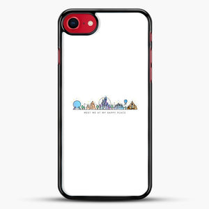 Meet Me At My Happy Place Vector Orlando Theme Park Illustration iPhone 7 Case, Black Rubber Case | JoeYellow.com