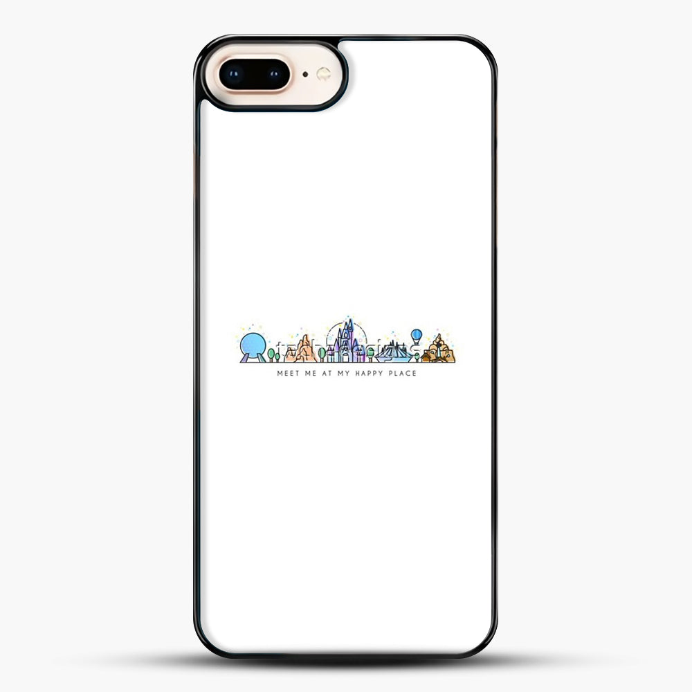 Meet Me At My Happy Place Vector Orlando Theme Park Illustration iPhone 8 Plus Case, Black Plastic Case | JoeYellow.com