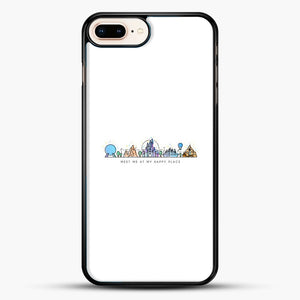 Meet Me At My Happy Place Vector Orlando Theme Park Illustration iPhone 8 Plus Case, Black Rubber Case | JoeYellow.com