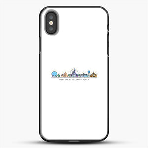 Meet Me At My Happy Place Vector Orlando Theme Park Illustration iPhone X Case, Black Plastic Case | JoeYellow.com