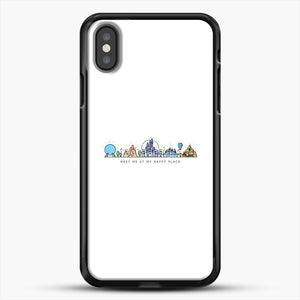 Meet Me At My Happy Place Vector Orlando Theme Park Illustration iPhone X Case, Black Rubber Case | JoeYellow.com