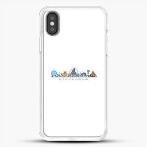 Meet Me At My Happy Place Vector Orlando Theme Park Illustration iPhone X Case, White Rubber Case | JoeYellow.com