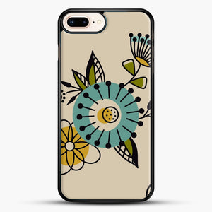 Mid Century Modern Flowers iPhone 7 Plus Case, Black Rubber Case | JoeYellow.com