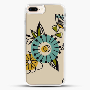 Mid Century Modern Flowers iPhone 7 Plus Case, White Rubber Case | JoeYellow.com