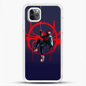 Miles Morales Jump Cool Spiderman iPhone 11 Pro Max Case, White Rubber Case | JoeYellow.com