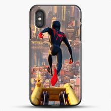 Load image into Gallery viewer, Miles Morales Jump Down iPhone XS Case, Black Plastic Case | JoeYellow.com