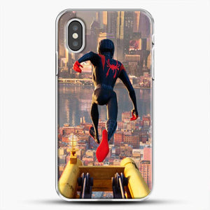 Miles Morales Jump Down iPhone XS Case, White Plastic Case | JoeYellow.com