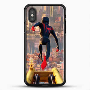 Miles Morales Jump Down iPhone XS Case, Black Rubber Case | JoeYellow.com