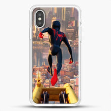 Load image into Gallery viewer, Miles Morales Jump Down iPhone XS Case, White Rubber Case | JoeYellow.com