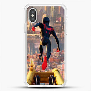 Miles Morales Jump Down iPhone XS Case, White Rubber Case | JoeYellow.com