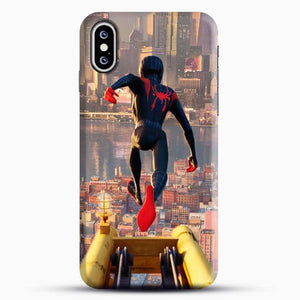 Miles Morales Jump Down iPhone XS Case, Black Snap 3D Case | JoeYellow.com