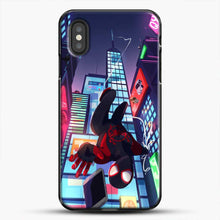 Load image into Gallery viewer, Miles Morales Jump Drawing Stuff iPhone XS Case, Black Plastic Case | JoeYellow.com