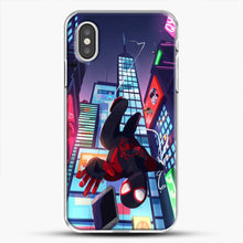 Load image into Gallery viewer, Miles Morales Jump Drawing Stuff iPhone XS Case, White Plastic Case | JoeYellow.com