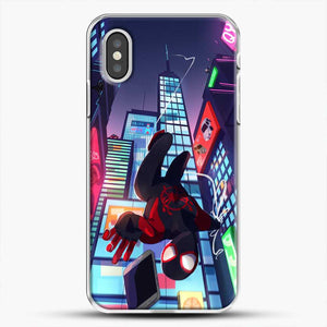 Miles Morales Jump Drawing Stuff iPhone XS Case, White Plastic Case | JoeYellow.com