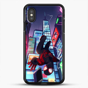 Miles Morales Jump Drawing Stuff iPhone XS Case, Black Rubber Case | JoeYellow.com