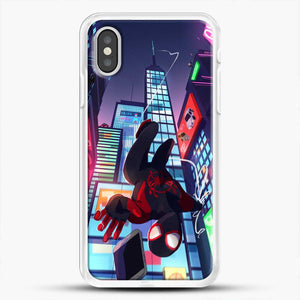 Miles Morales Jump Drawing Stuff iPhone XS Case, White Rubber Case | JoeYellow.com