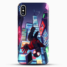 Load image into Gallery viewer, Miles Morales Jump Drawing Stuff iPhone XS Case, Black Snap 3D Case | JoeYellow.com