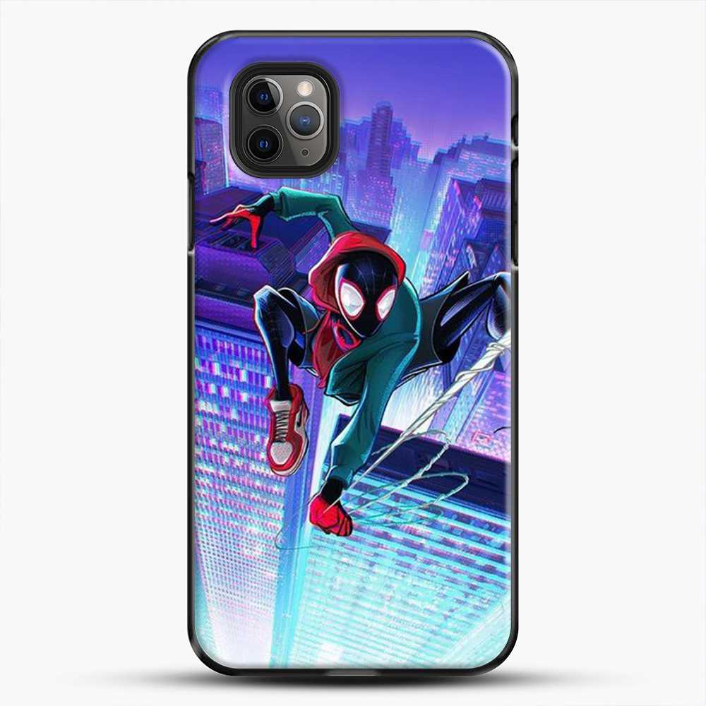 Miles Morales Jump Midnight City iPhone 11 Pro Max Case, Black Plastic Case | JoeYellow.com