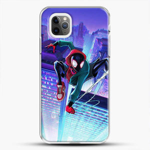 Miles Morales Jump Midnight City iPhone 11 Pro Max Case, White Plastic Case | JoeYellow.com