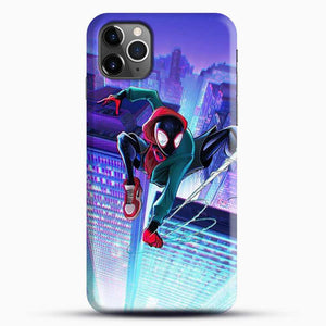 Miles Morales Jump Midnight City iPhone 11 Pro Max Case, Black Snap 3D Case | JoeYellow.com