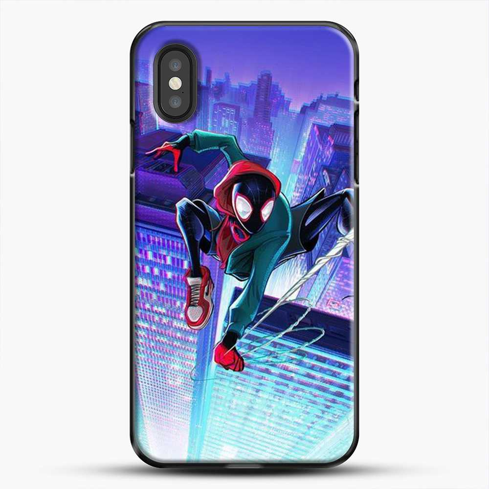 Miles Morales Jump Midnight City iPhone XS Case, Black Plastic Case | JoeYellow.com